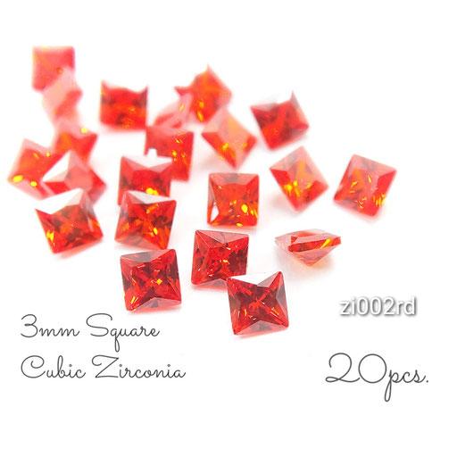 1辺約3mm 20粒 キュービックジルコニア《グレードA》高品質スクエアストーン☆レッド系【zi002rd】