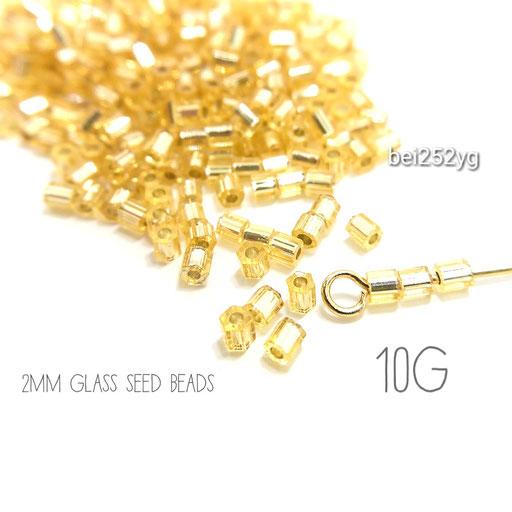 10g=約850粒前後☆グレードA 極小2mm多面ガラスシードビーズ☆イエローゴールド色【bei252yg】