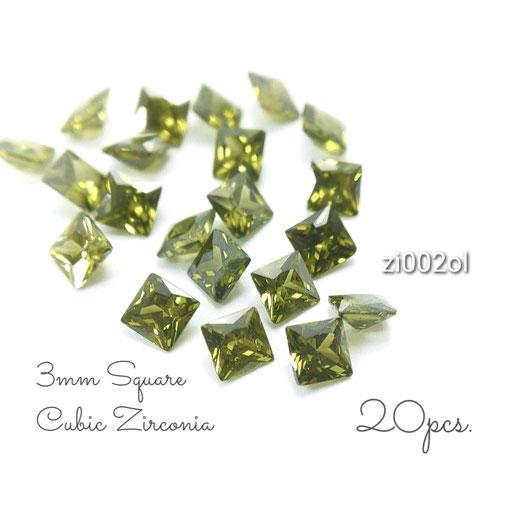 1辺約3mm 20粒 キュービックジルコニア《グレードA》高品質スクエアストーン☆オリーヴ系【zi002ol】