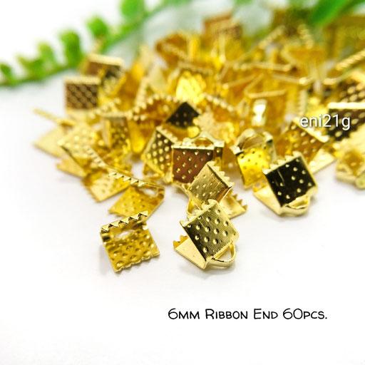 約60個☆6mm幅 ワニ口リボンエンドパーツ☆ゴールド色【eni21g】