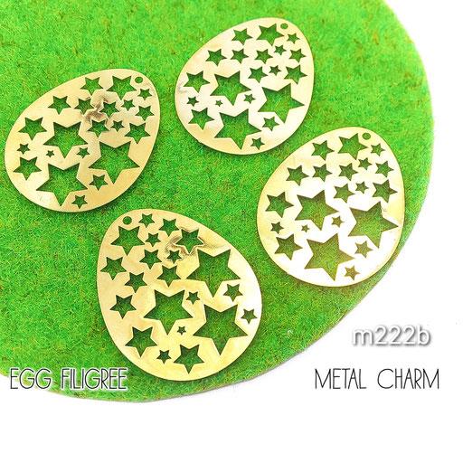 4個 薄*銅製 卵型 繊細な透かしメタルチャーム Bタイプ【m222b】