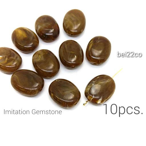 10個☆天然石調*楕円ビーズ☆ココナッツ【bei22co】