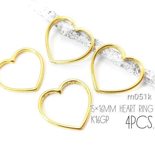 4個☆約15×16mm ヒキモノハートリング 高品質鍍金 k16gp【m051k】