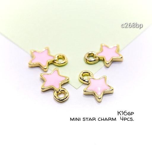 4個☆k16gp*高品質 * ミニ星のカラーチャーム☆ベビーピンク【c268bp】
