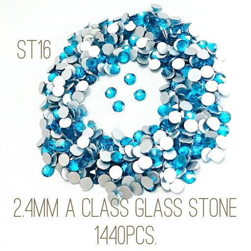 大量約1440粒!2.4mmA級品ガラスラインストーン!☆ブルージルコン色☆【st16】