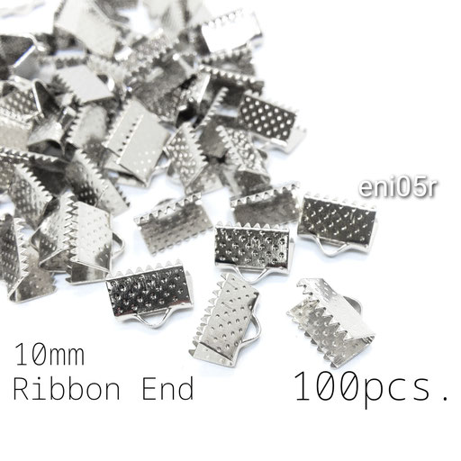 約100個☆約10mm幅 ワニ口リボンエンドパーツ ロジウム色【eni05r】