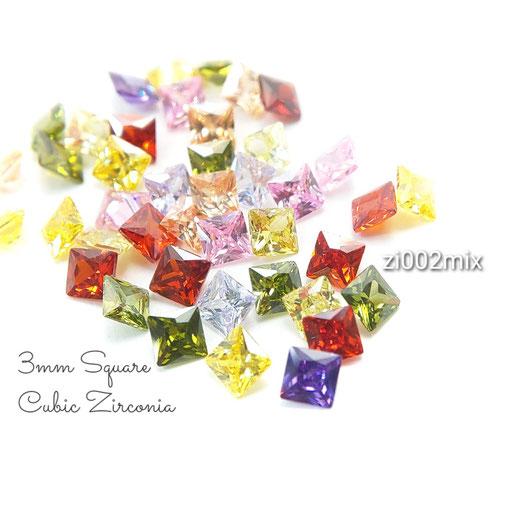1辺約3mm 約40粒目安 キュービックジルコニア《グレードA》高品質ファセットスクエアストーン☆MIX【zi002mix】