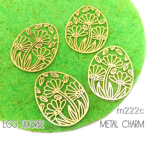 4個 薄*銅製 卵型 繊細な透かしメタルチャーム Cタイプ【m222c】