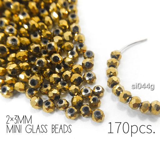 約170個 約2×3mm 極小*多面電気メッキガラスビーズ ゴールド色【si044g】