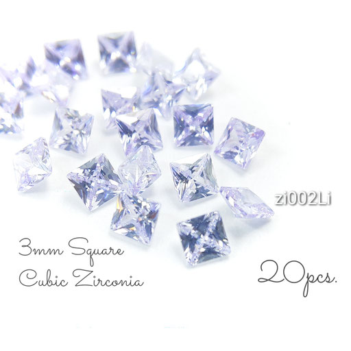 1辺約3mm 20粒 キュービックジルコニア《グレードA》高品質スクエアストーン☆ライラック系【zi002Li】