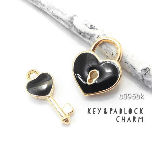 1ペア k16gp高品質 ハートの南京錠と鍵モチーフチャーム ☆ブラック【c095bk】