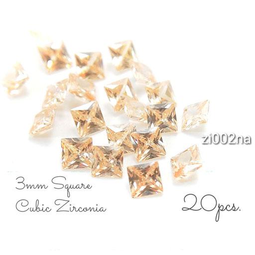 1辺約3mm 20粒 キュービックジルコニア《グレードA》高品質スクエアストーン☆ピーチ系【zi002na】