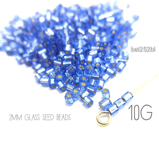 10g=約850粒前後☆グレードA 極小2mm多面ガラスシードビーズ☆ブルー色【bei252bl】