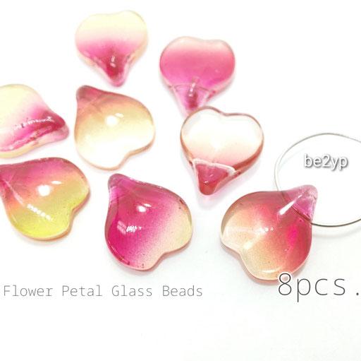 8個☆特価*約15×13mm-花びらモチーフ*ガラスビーズ☆Y.ピンク系【be2yp】
