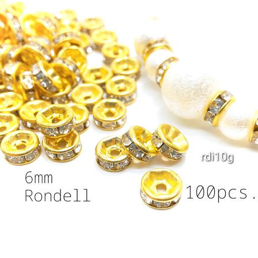 約100個 特価*6mm Bストーンロンデル/スペーサー ☆ゴールド色【rdi10g】