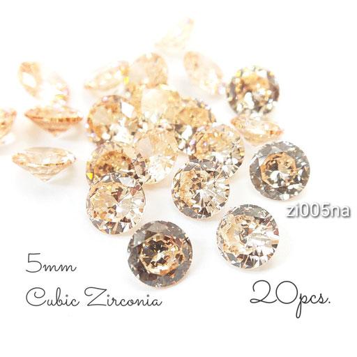約5mm 20粒 キュービックジルコニア《グレードA》高品質ファセットカットストーン☆ピーチ系【zi005na】