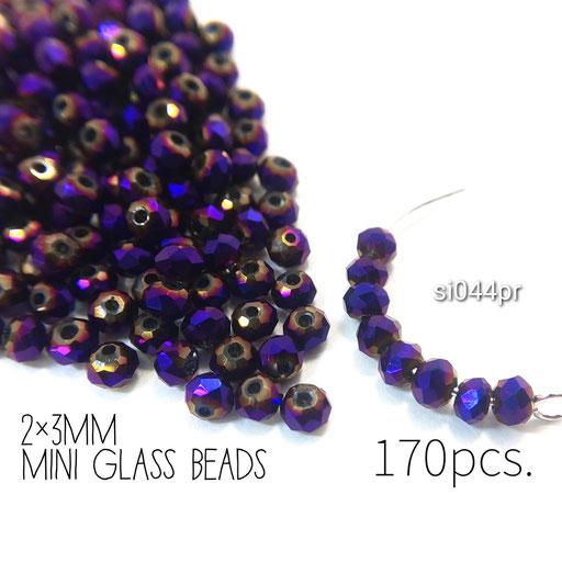 約170個 約2×3mm 極小*多面電気メッキガラスビーズ パープル色【si044pr】