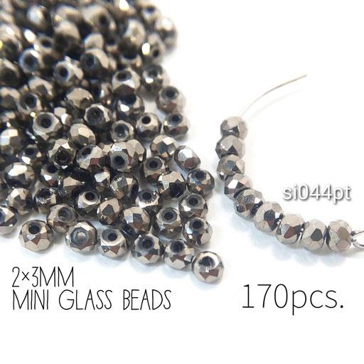 約170個 約2×3mm 極小*多面電気メッキガラスビーズ プラチナ色【si044pt】
