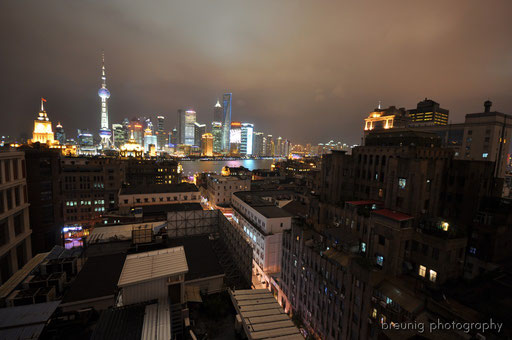 the bund and pudong seen from the hotel