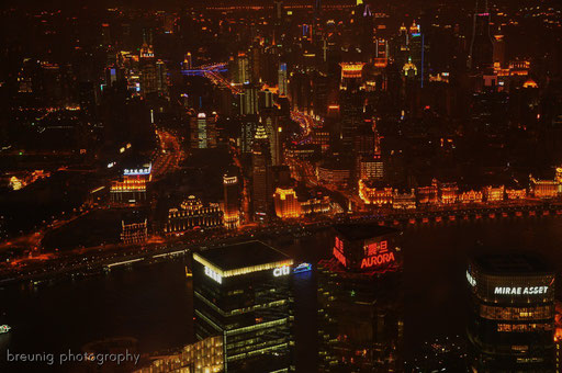 on top of jin mao tower (420m): view to the bund