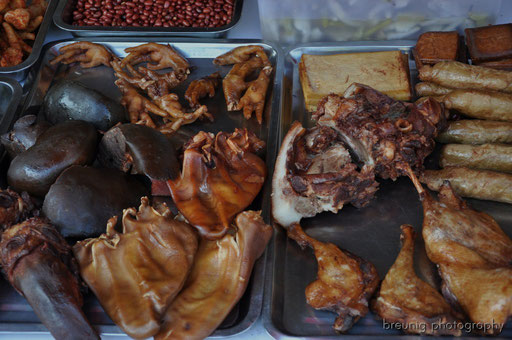 chicken feet, pork liver, tongue and heart (divided into two)