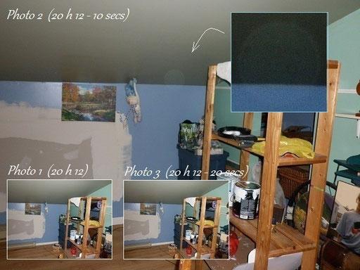 Trois photos prises l'une à la suite de l'autre... (photo 1, photo 2, photo 3) seule la photo deux apparaît une sphère « un orbe »