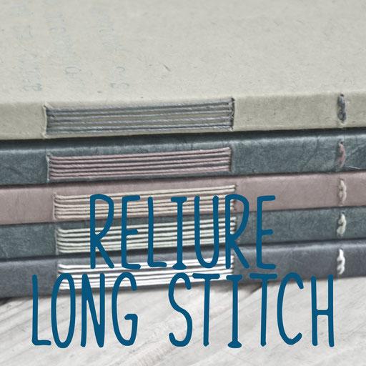 reliure long stitch, création reliure cousue Marie Donnot, atelier idéEphémère, 64260 Bielle