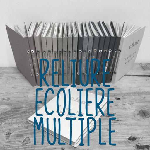 reliure écolière multiple, création reliure cousue Marie Donnot, atelier idéEphémère, 64260 Bielle