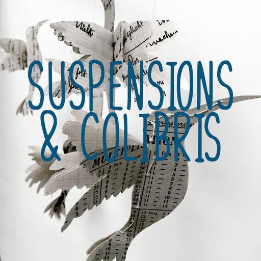 suspensions et colibris, création reliure cousue Marie Donnot, atelier idéEphémère, 64260 Bielle