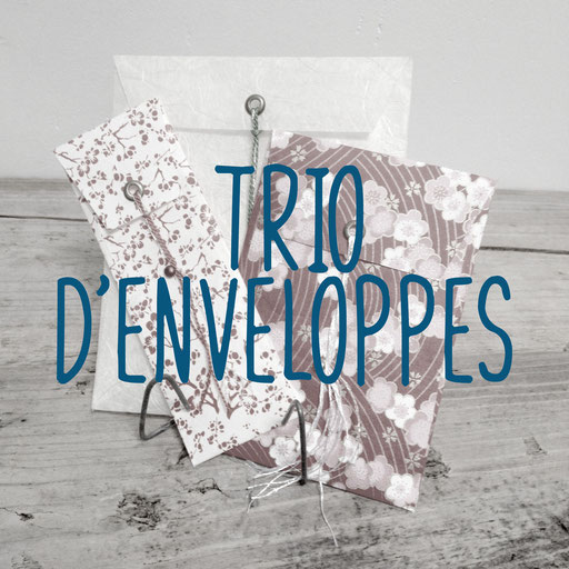 trio d'enveloppes, création reliure cousue Marie Donnot, atelier idéEphémère, 64260 Bielle