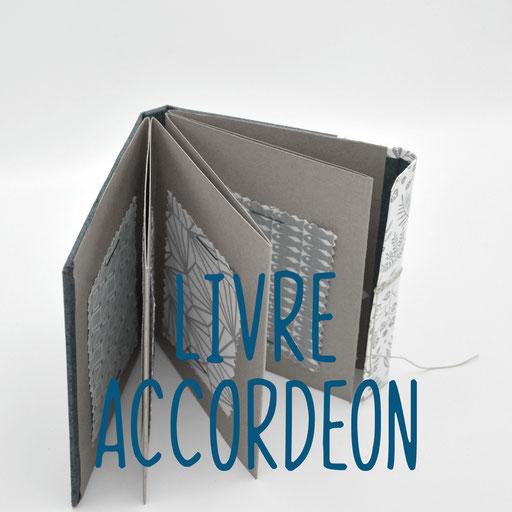livre accordéon, création reliure cousue Marie Donnot, atelier idéEphémère, 64260 Bielle