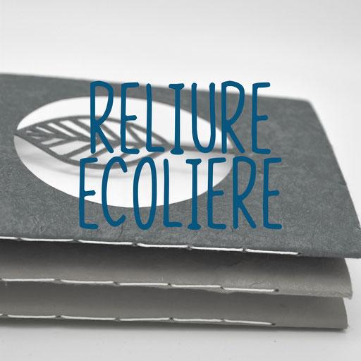 reliure écolière, création reliure cousue Marie Donnot, atelier idéEphémère, 64260 Bielle
