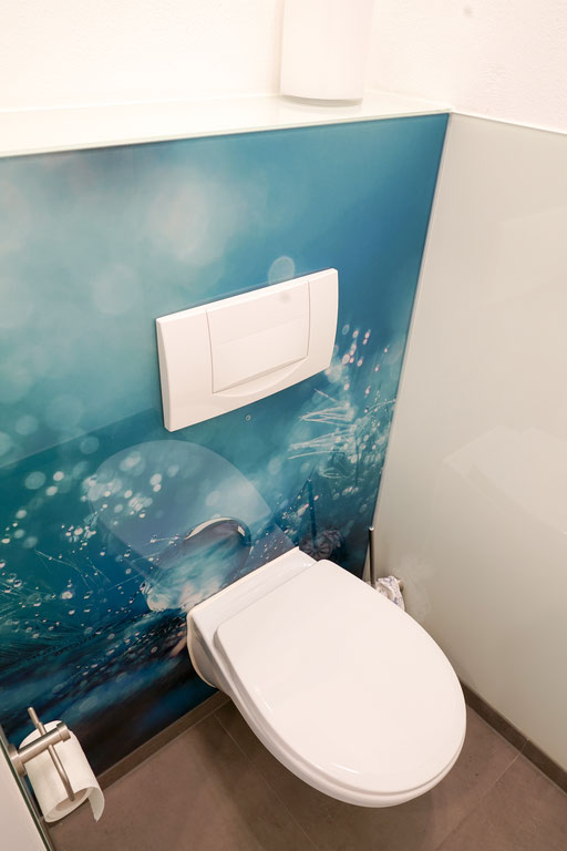 Digitaldruck - Glasrückwand - WC-Rückwand - © Glaserei Allgäuer
