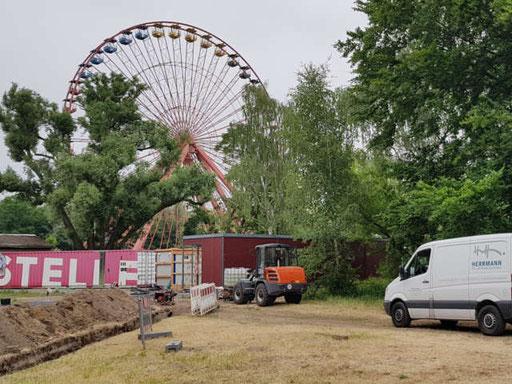 Erschließungsarbeiten im Spreepark Berlin