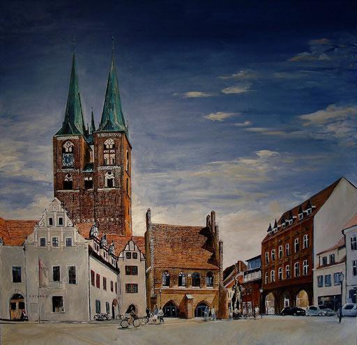 Der Marktplatz von Stendal, 100x100 cm, 2015