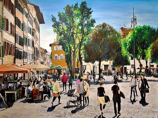 Piazza Santo Spirito, Florenz, 120x90 cm, 2017