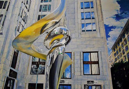 """Spiegelungen im """"Phönix"""", Berlin (hinter dem Ritz Carlton), 100x70 cm, 2016"""