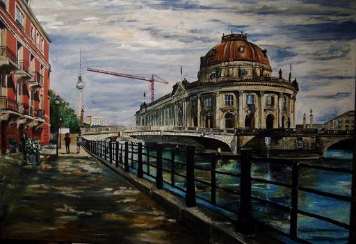 Monbijoubrücke und Bodemuseum, Berlin-Mitte, 100x70 cm, 2016