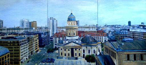 Gendarmenmarkt, Panorama - Deutscher Dom und Konzerthaus, Triptychon, 180x80cm, 2011