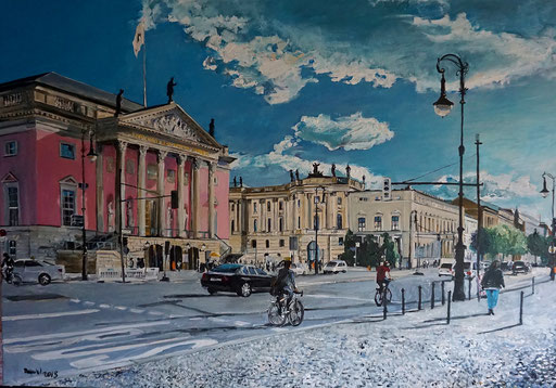 Staatsoper, Berlin, Unter den Linden, Acryl, 100x70 cm, 2018