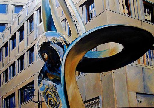 """Verzerrungen im """"Phönix"""", Berlin,  Beisheim Center/Potsdamer Platz. 100x70 cm, 2017"""