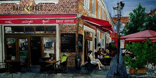 Straßencafé an der Ecke, Potsdam-Holländerviertel, 100x50 cm, 2016