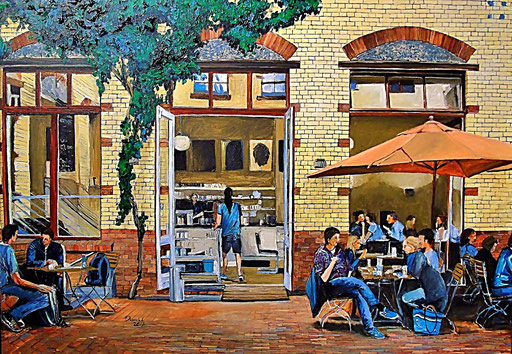 Cafe im Hinterhof, Sophie-Gips-Höfe, Berlin-Mitte, 100x70 cm, 2017