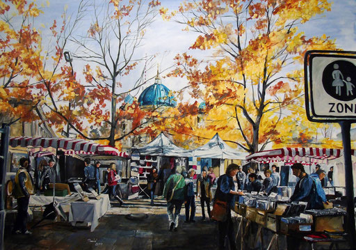 Kunstmarkt am Zeughaus, Blick zum Lustgarten und Dom, Berlin, 100x70cm, 2014