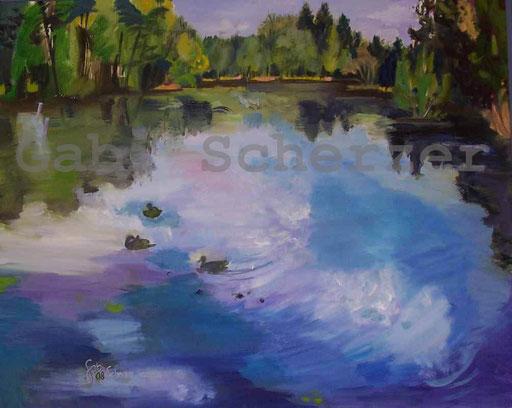 Bild von Bibel, Bild von Foto, Ruheplatz am Wasser, Psalm 23, Ölmalerei, 2008