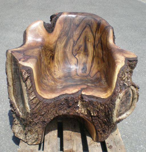 Massivholz Sessel Stuhl  aus Nussbaumholz
