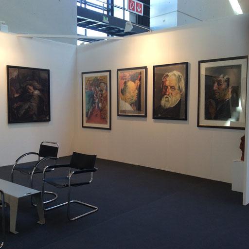 Art Karlsruhe 2015, Stand H3/F 16 der Galerie KK, Wand Johannes Grützke