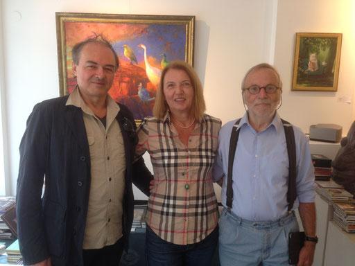 Rudi und Gabi Hurzlmeier mit Klaus Kiefer, Ausstellungseröffnung 2016 in der Galerie KK