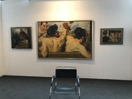 Art Karlsruhe 2018, Stand  H3/F 14 der Galerie KK, Wand Johannes Grützke