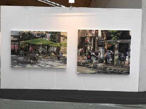 Art Karlsruhe 2018, Stand  H3/F 14 der Galerie KK, Wand Hartmut Kiewert